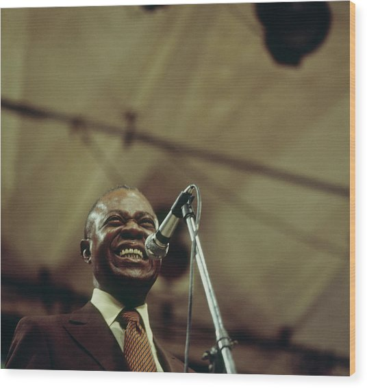 Louis Armstrong On Stage At Newport Wood Print by David Redfern