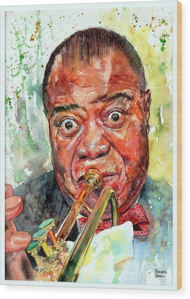 Louis Armstrong Portrait Painting Wood Print