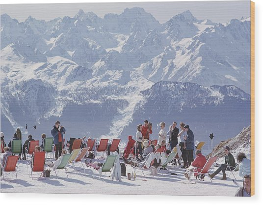 Lounging In Verbier Wood Print