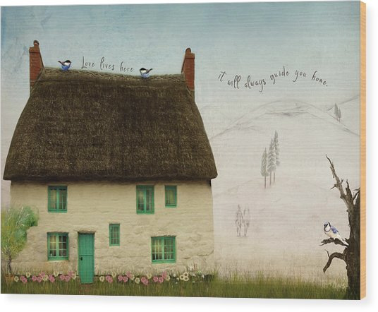 Love Lives Here Wood Print by Norma Slack