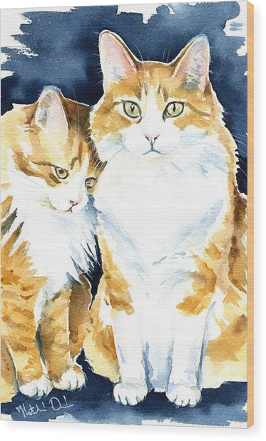 Love Me Meow Cat Painting Wood Print