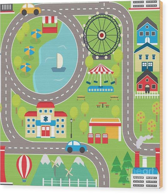 Lovely City Landscape Car Track Wood Print by Medejaja
