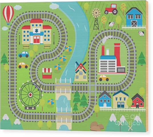 Lovely City Landscape Train Track Play Wood Print