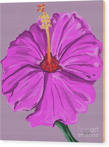 Lovely Pink Hibiscus Wood Print