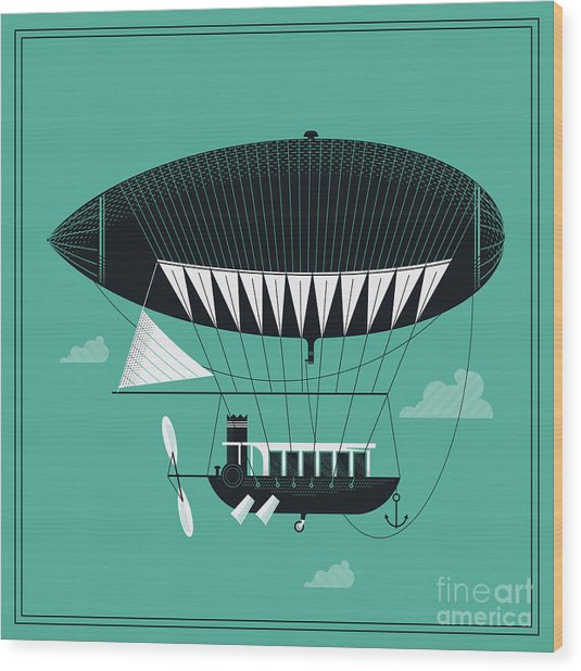 Lovely Vector Airship Illustration | Wood Print by Mascha Tace
