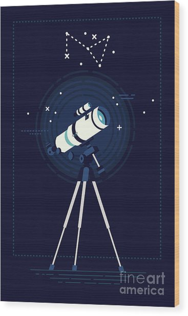 Lovely Vector Background On Astronomy Wood Print