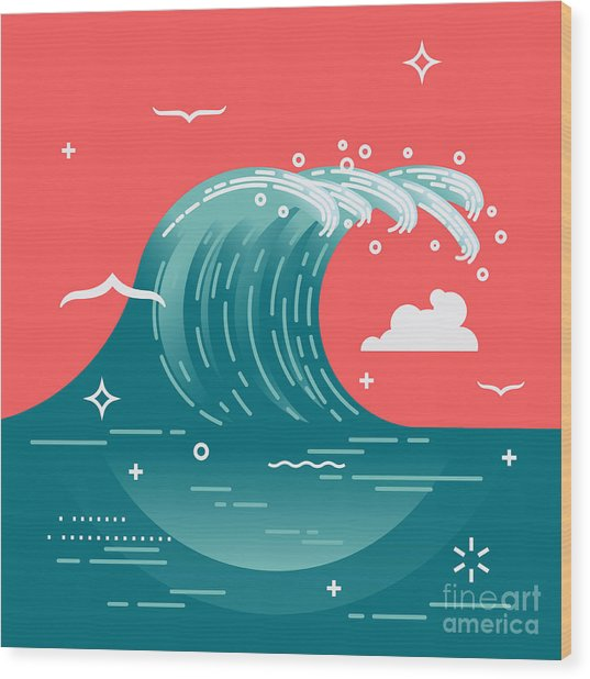 Lovely Vector Background On Large Ocean Wood Print by Mascha Tace