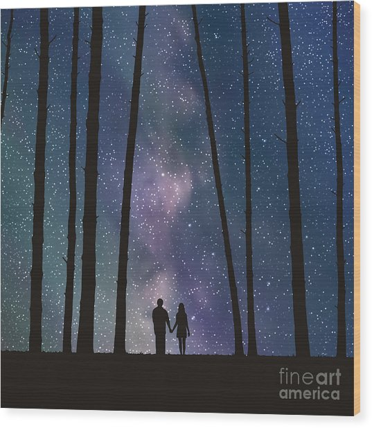 Lovers In Forest. Vector Illustration Wood Print