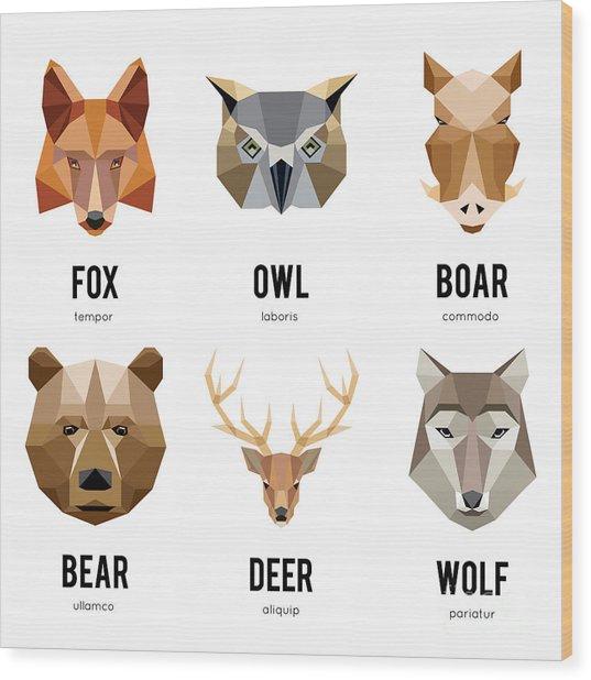 Low Polygon Animal Logos. Triangular Wood Print