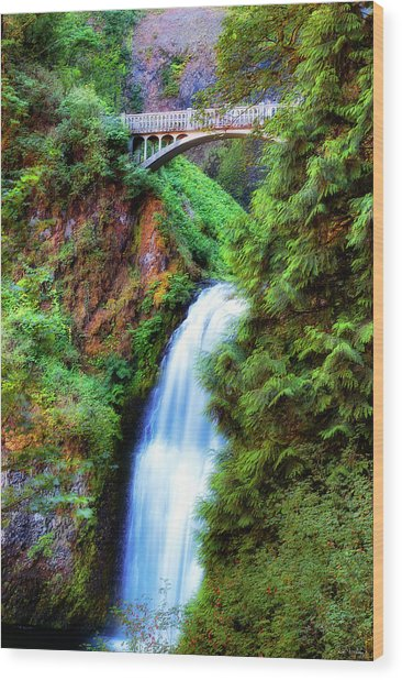 Lower Multnomah Waterfall In The Columbia River Gorge Wood Print