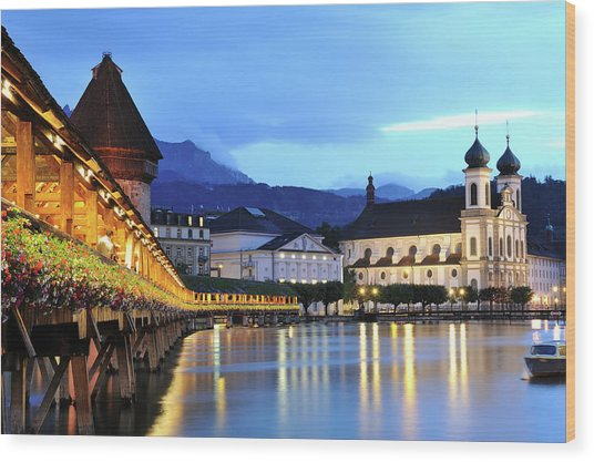 Lucerne At Dusk Wood Print by Aimintang