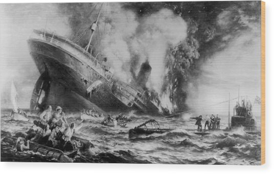 Lusitania Sunk Wood Print by Three Lions