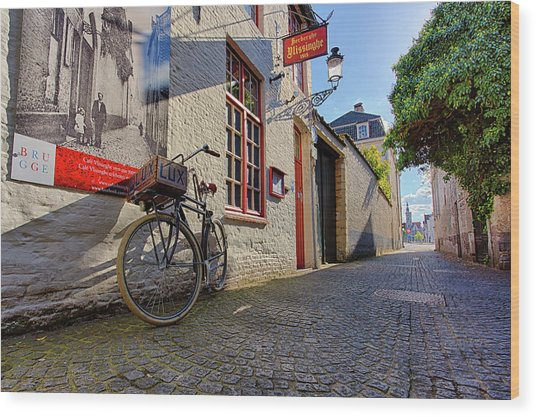 Wood Print featuring the photograph Lux Cobblestone Road Brugge Belgium by Nathan Bush