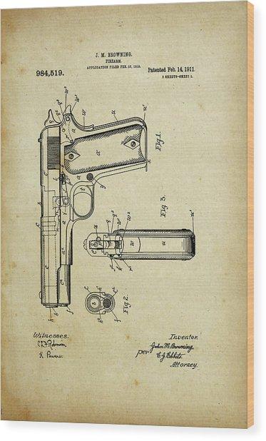 M1911 Browning Pistol Patent Wood Print