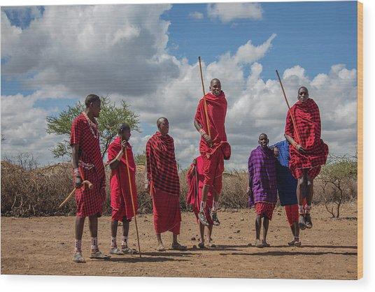 Maasai Adumu Wood Print