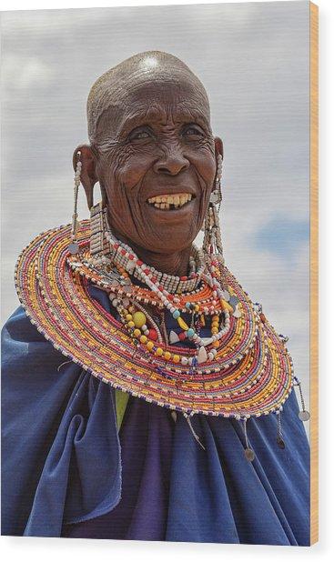 Maasai Woman In Tanzania Wood Print