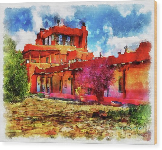 Mabel's Courtyard In Aquarelle Wood Print