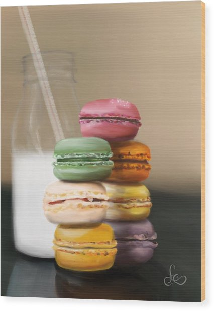 Wood Print featuring the pastel Macaroons  by Fe Jones