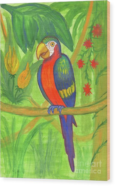 Macaw Parrot In The Wild Wood Print