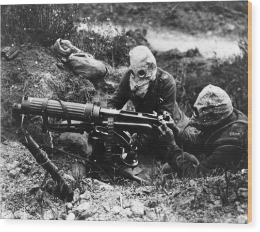 Machine Gunners Wood Print by General Photographic Agency