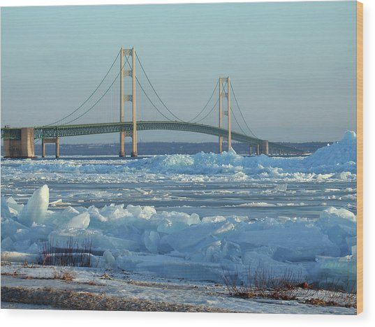Mackinac Bridge In Ice 2161801 Wood Print
