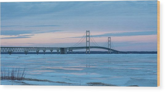 Mackinac Bridge In Ice 2161803 Wood Print