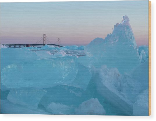 Mackinac Bridge In Ice 2161805 Wood Print