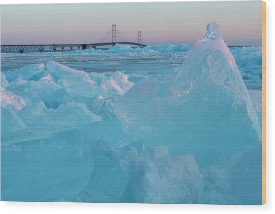 Mackinac Bridge In Ice 2161806 Wood Print