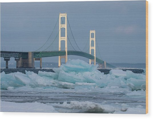 Mackinac Bridge In Ice 2161809 Wood Print