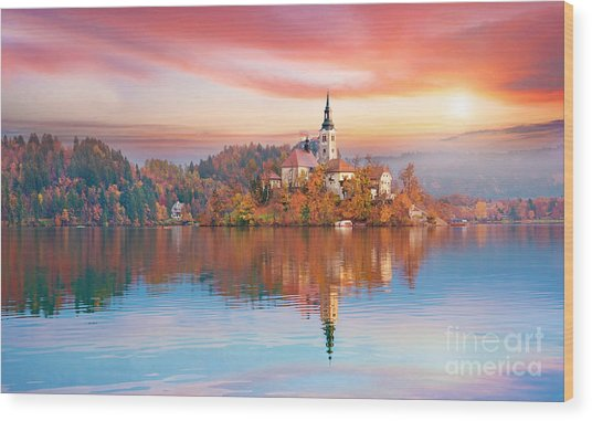 Magical Autumn Landscape With The Wood Print