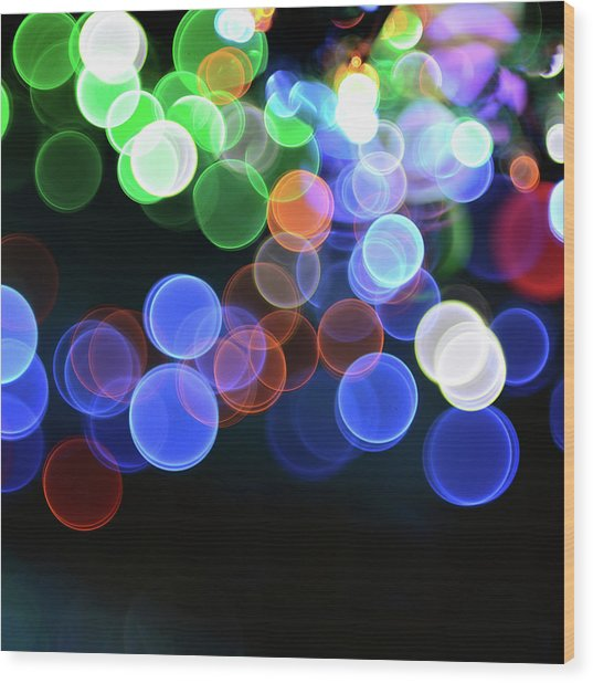 Magical Lights Background Wood Print by Alubalish