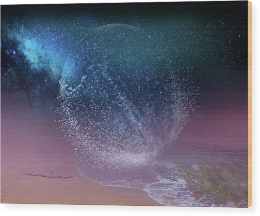 Magical Night Moment By The Seashore In Dreamland 3 Wood Print