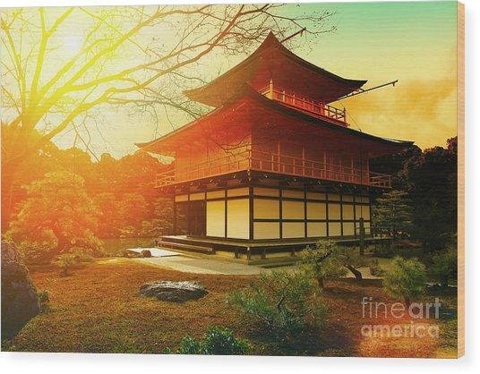 Magical Sunset Over Kinkakuji Temple Wood Print