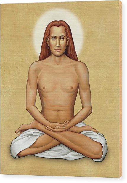 Mahavatar Babaji On Gold Wood Print