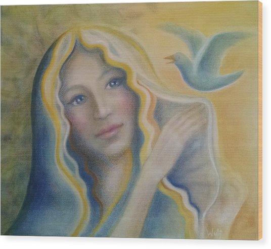 Maiden And Bluebird Wood Print
