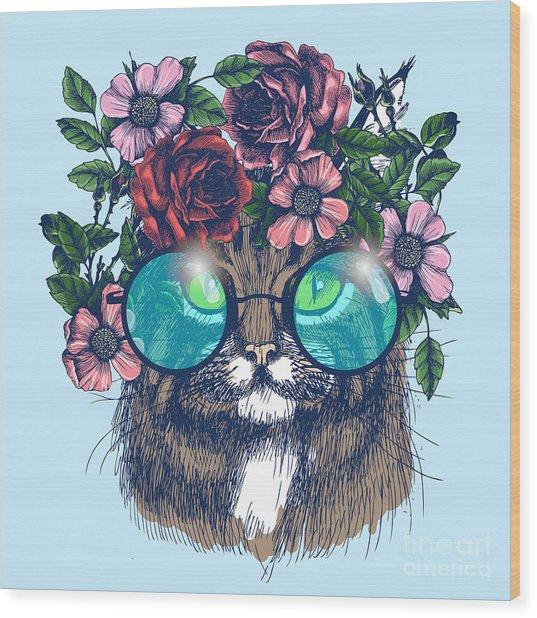 Maine Coon Cat Portrait With Floral Wood Print