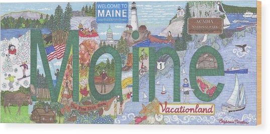 Maine Wood Print