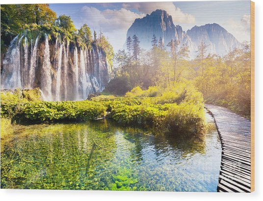 Majestic View On Waterfall With Wood Print
