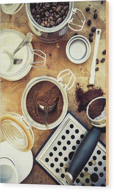 Making Coffee Wood Print