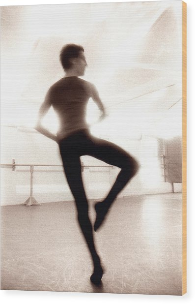 Male Ballet Dancer Practicing In Dance Wood Print by Ade Groom