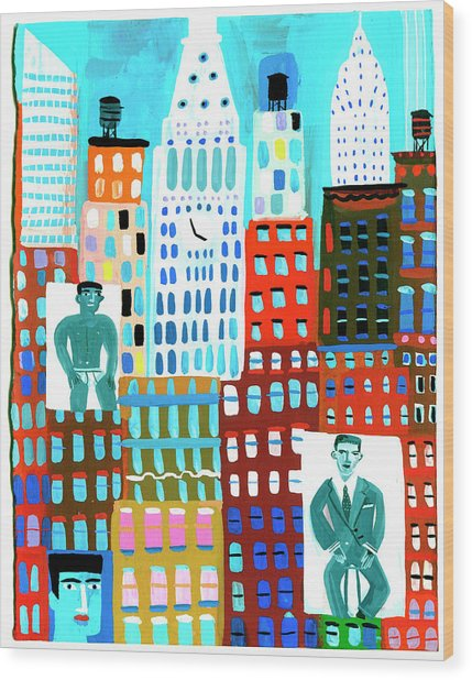 Male Fashion Models On Advertising Wood Print by Christopher Corr