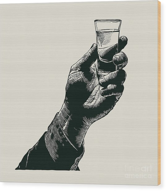 Male Hand Holding A Shot Of Alcohol Wood Print