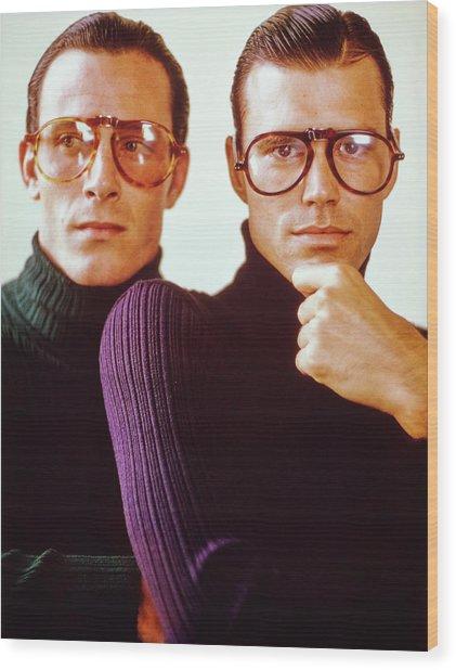 Male Models Wearing Folding Eyewear Wood Print by Barry McKinley