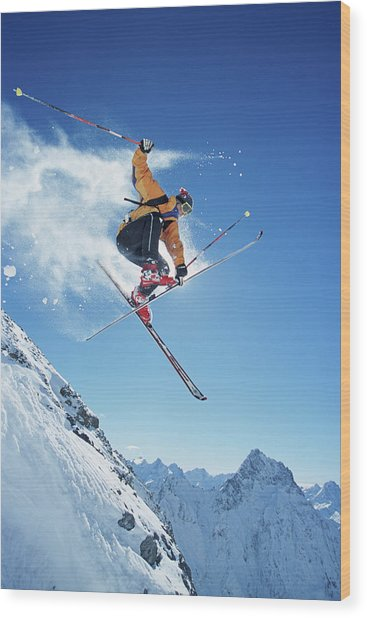 Male Skier In Mid-air, Low Angle View Wood Print