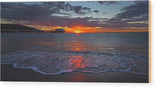 Malibu Pier Sunrise Wood Print