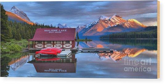 Maligne Lake Sunset Spectacular Wood Print