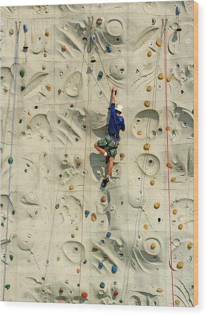 Man Climbing Wall In Gym, Rear View Wood Print