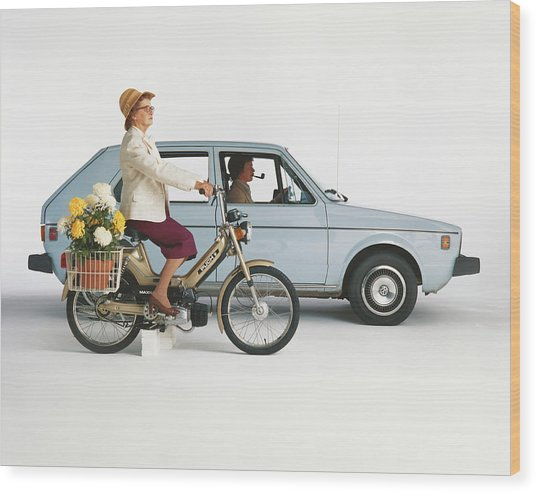 Man Driving Car And Woman Riding Wood Print