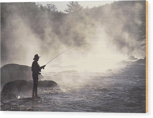 Man Fly-fishing In Contoocook River Wood Print