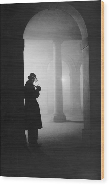Man In Fog Wood Print by Arthur Tanner